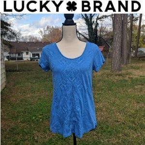 Lucky Brand Blue Diamond Embroidered T-Shirt M